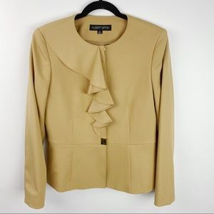 Albert Nipon ruffled button up tan blazer